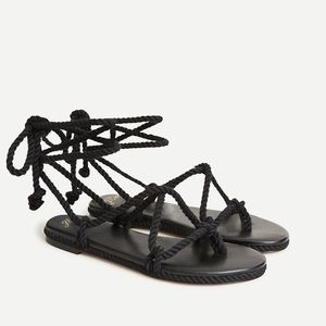 J. Crew Rope Lace-up Flat Sandals